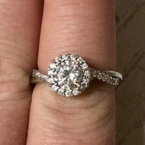 RING HALO ENGAGEMENT/PROMISE 925SS